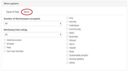 Workaway search improvements