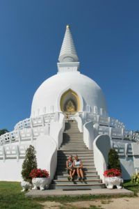 Visiting a Buddhist stupa in Hungary